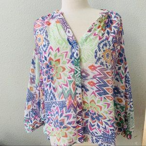 ANTHROPOLOGIE MAEVE colorful graphic blouse L